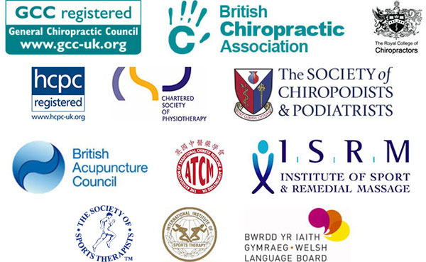 General Chiropractic Council Registered, British Chiropractic Association, The Royal College of Chiropractors, HCPC Registered, Chartered Society of Physiotherapy, The Society of Chiropodists  & Podiatrists, British Acupuncture Council, Association of Traditional Chinese Medicine and Acupuncture, Institute of Sport and Remedial Masaage, International Institute of Sports Therapy, Bwrdd yr iaith Gymraeg - Welsh Language Board