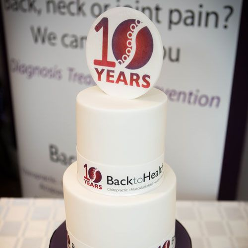 10 Year Anniversary Back to Health celebration cake