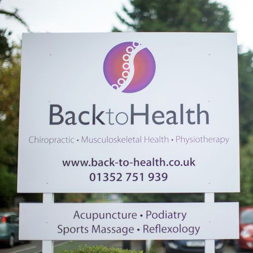 Back to Health sign at Mold clinic