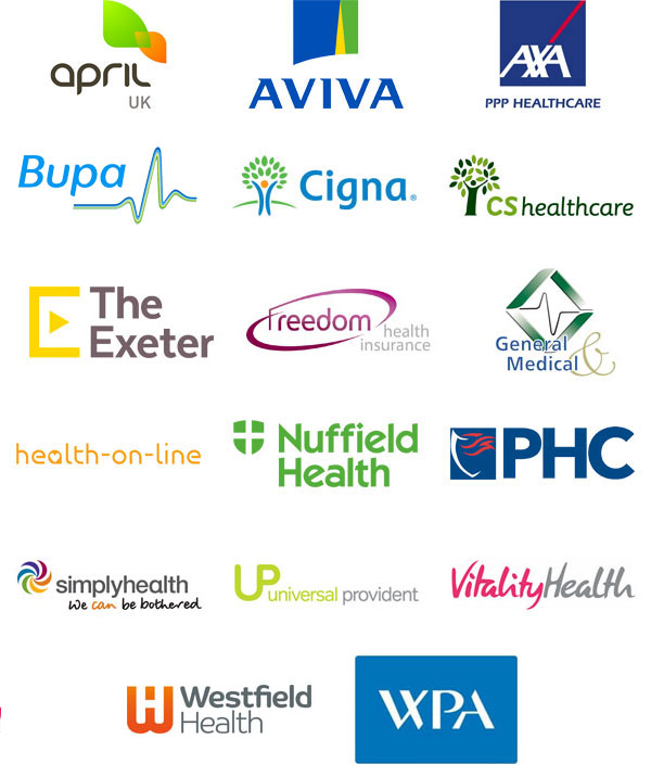 April UK, Aviva, Axa PPP Healthcare, Bupa, Cigna, CS Healthcare, The Exeter, Freedom Health Insurance, General & Medical, Health-on-line, Nuffied Health, PHC, Simply Health, Universal Provident, Vitality Health, Westfield Health, WPA