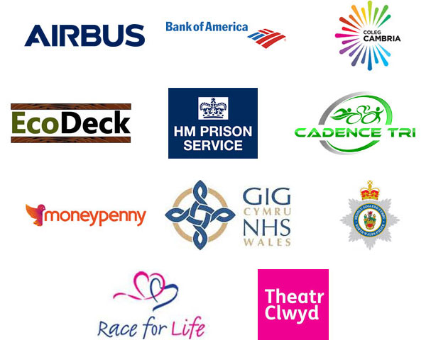 Airbus, Bank of America, Coleg Cambria, EcoDeck, HM Prison Service, Cadence Tri, Moneypenny, NHS Wales, North Wales Police, Race for Life, Theatr Clwyd