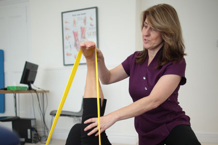Physiotherapy exercises with client in Chester